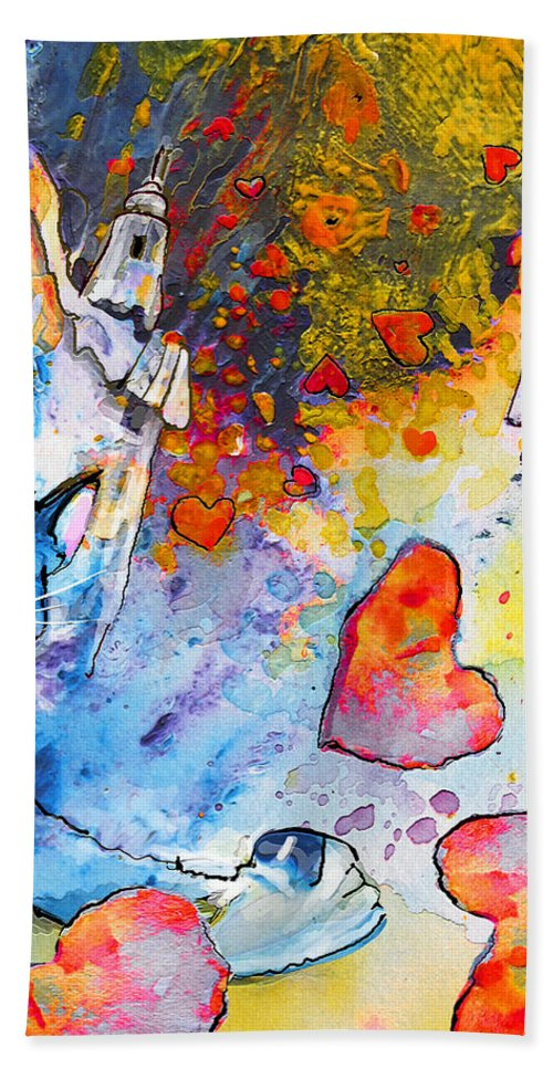 Fantasy Hand Towel featuring the painting Catching Love by Miki De Goodaboom