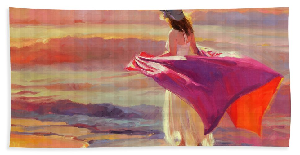 Coast Bath Towel featuring the painting Catching the Breeze by Steve Henderson