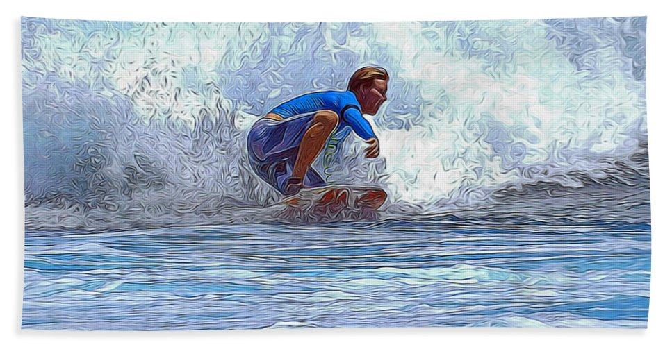 Surfing Bath Sheet featuring the mixed media Catching The Wave by Pamela Walton