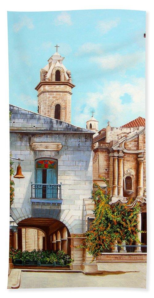 Catedral De La Habana Hand Towel featuring the painting Catedral De La Habana by Dominica Alcantara