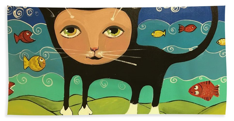 Easterseals Southwest Florida Bath Sheet featuring the painting Catfish by Cindy B and Louie M