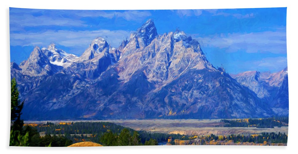 Tetons Hand Towel featuring the photograph Cathedral Group Impressions by Greg Norrell