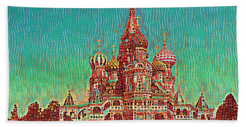 Cathedral Of St. Basil The Blessed Bath Sheet featuring the photograph Cathedral Of St. Basil, Moscow Russia by Wernher Krutein