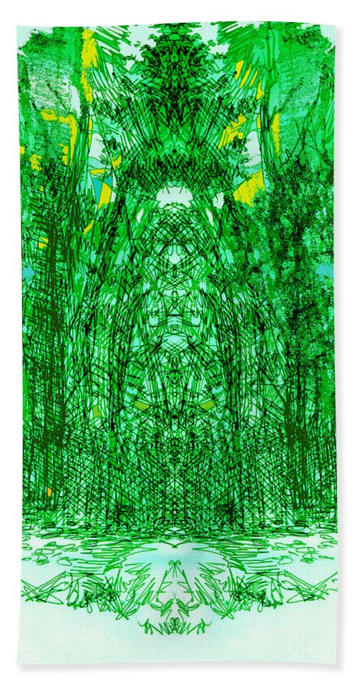 Cathedral Bath Sheet featuring the digital art Cathedral Of Trees by Seth Weaver