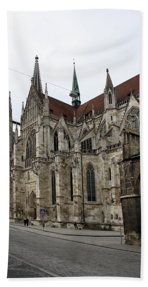 Cathedral Bath Sheet featuring the photograph Cathedral Regensburg by Christiane Schulze Art And Photography