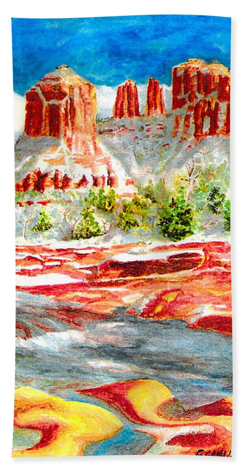 Sedona Hand Towel featuring the painting Cathedral Rock Crossing by Eric Samuelson