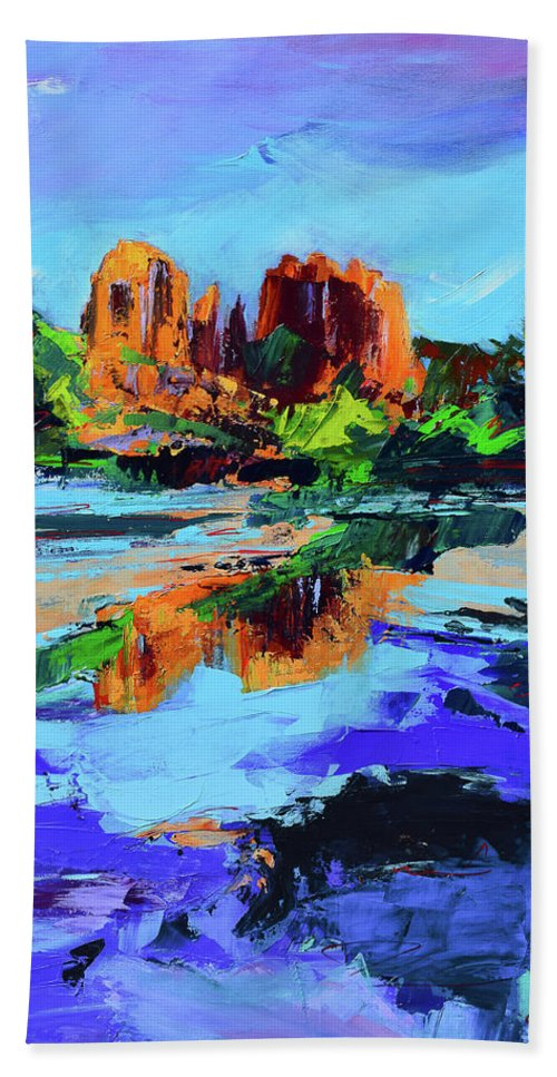 Sedona Hand Towel featuring the painting Cathedral Rock - Sedona by Elise Palmigiani