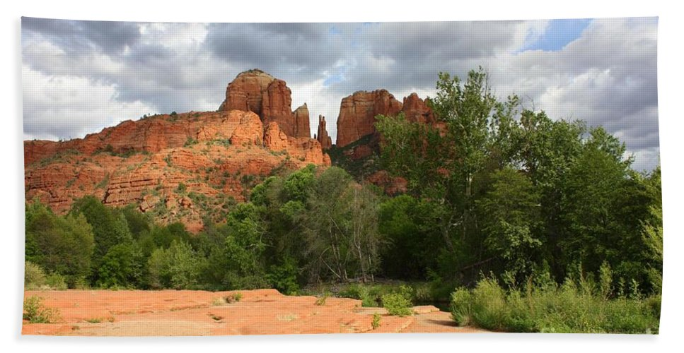 Cathedral Rock Hand Towel featuring the photograph Cathedral Rock With Clouds by Carol Groenen