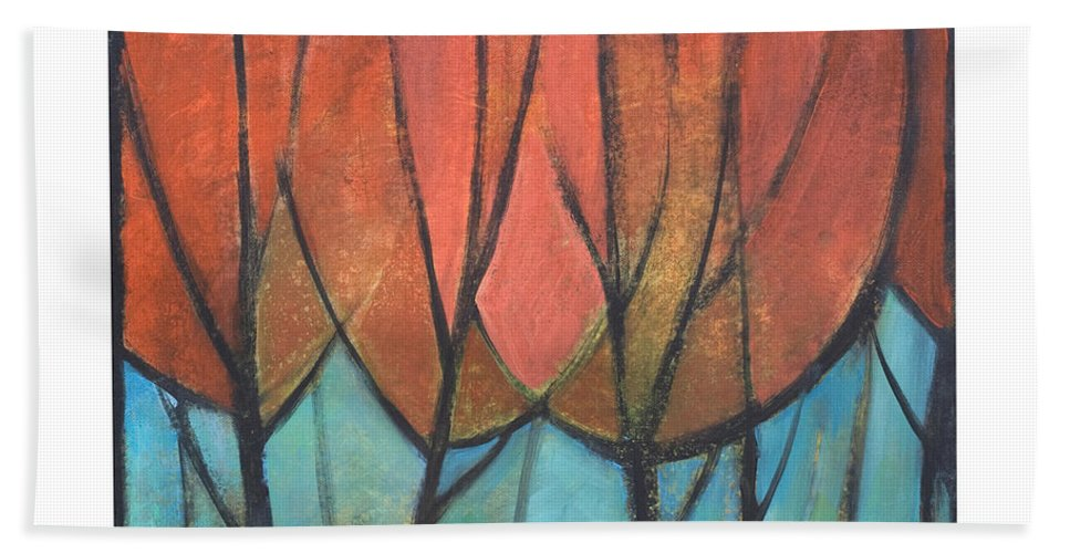 Trees Bath Towel featuring the painting Cathedral by Tim Nyberg