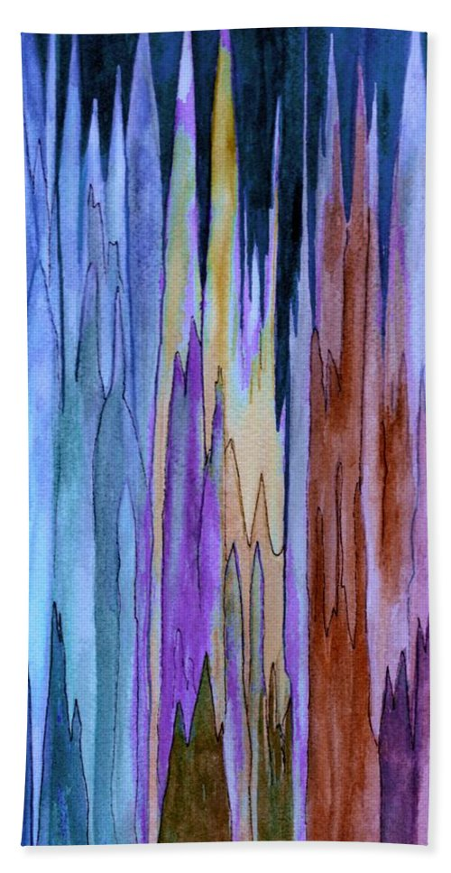 Watercolor Bath Sheet featuring the painting Cathedrals by Brenda Owen