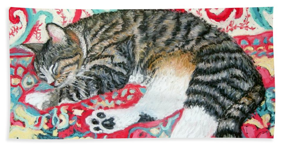 Cat Bath Sheet featuring the painting Catnap Time by Minaz Jantz