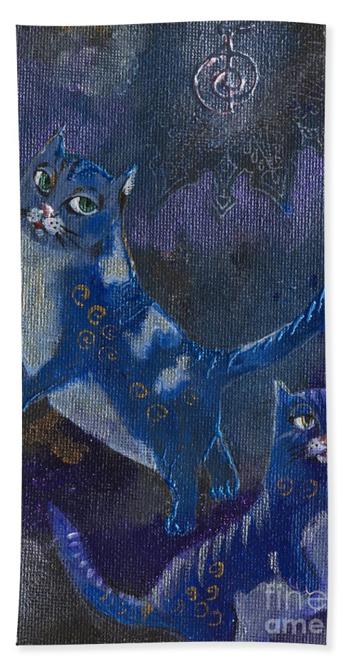 Cats Bath Sheet featuring the painting Cats And Reiki by Angel Ciesniarska