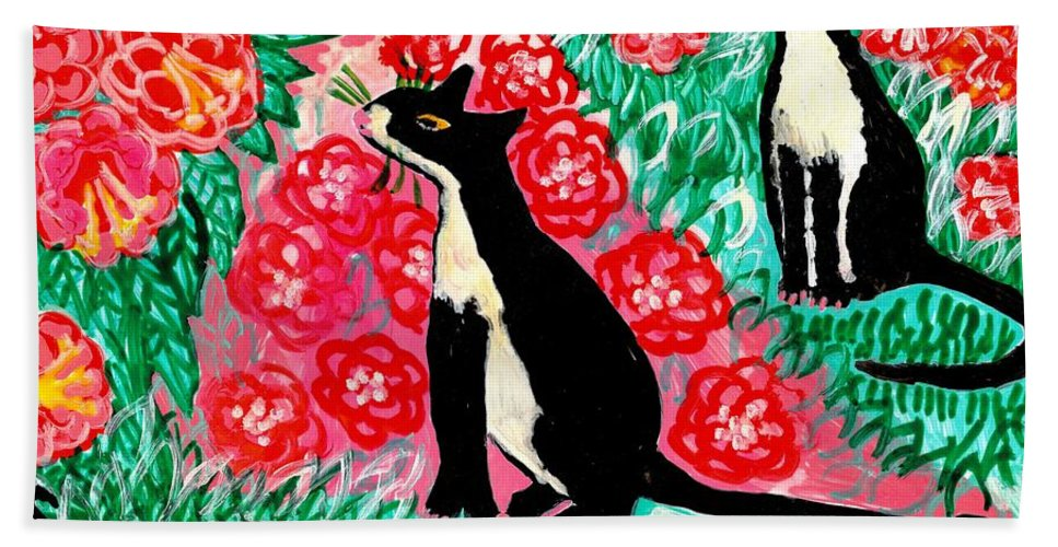 Sue Burgess Bath Sheet featuring the painting Cats And Roses by Sushila Burgess