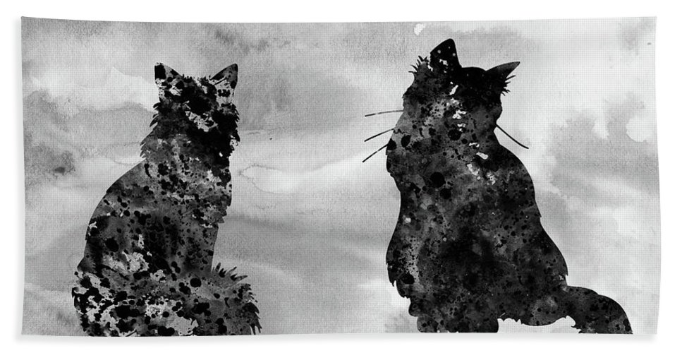 Two Fluffy Cats Bath Sheet featuring the digital art Cats-black by Erzebet S