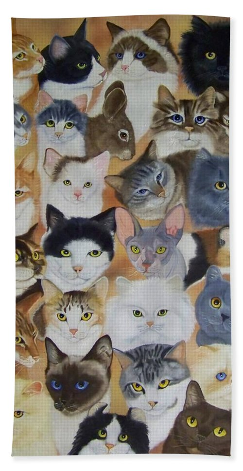 Cat Bath Sheet featuring the painting Cats by Debbie LaFrance