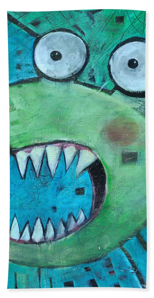 Cat Bath Towel featuring the painting Catsastrophe by Tim Nyberg
