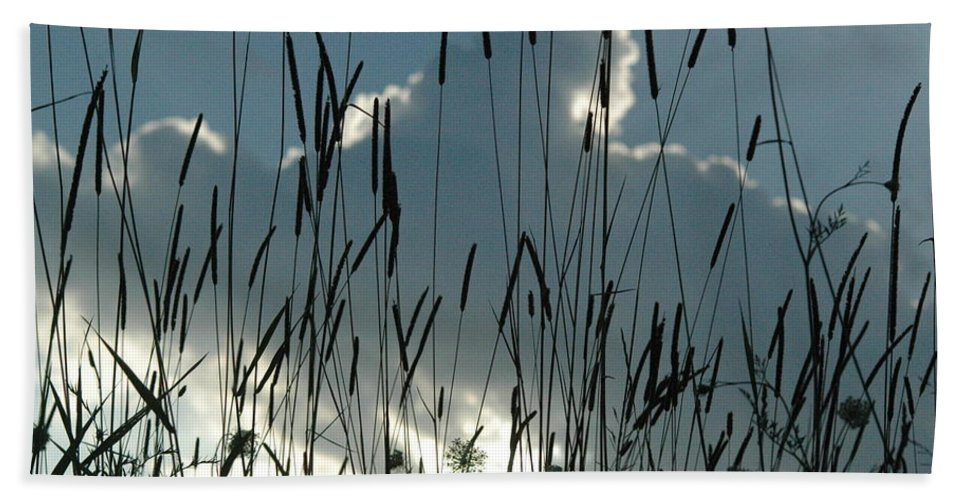 Sky Bath Sheet featuring the photograph Cattail Sky by Trish Hale
