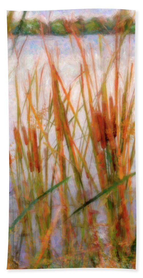 Cattails Hand Towel featuring the photograph Cattails By The Lake by Betty LaRue