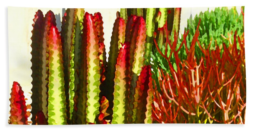 Landscape Hand Towel featuring the painting Catus Garden by Amy Vangsgard