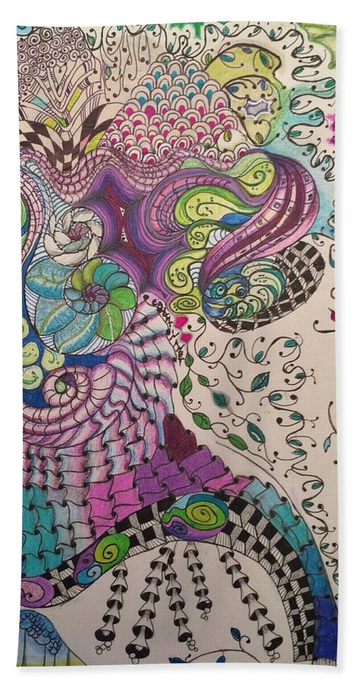 Patterns Bath Towel featuring the drawing Caught in a Net by Suzanne Udell Levinger