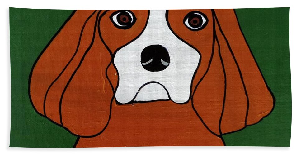 Dog Hand Towel featuring the painting Cavalier King Charles by Sean Brushingham