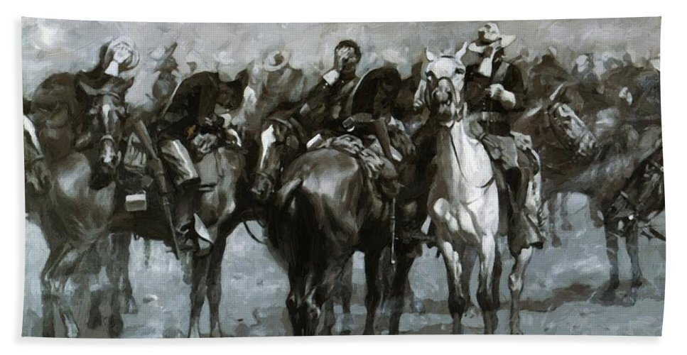 Cavalry Hand Towel featuring the painting Cavalry In An Arizona Sandstorm 1889 by Remington Frederic