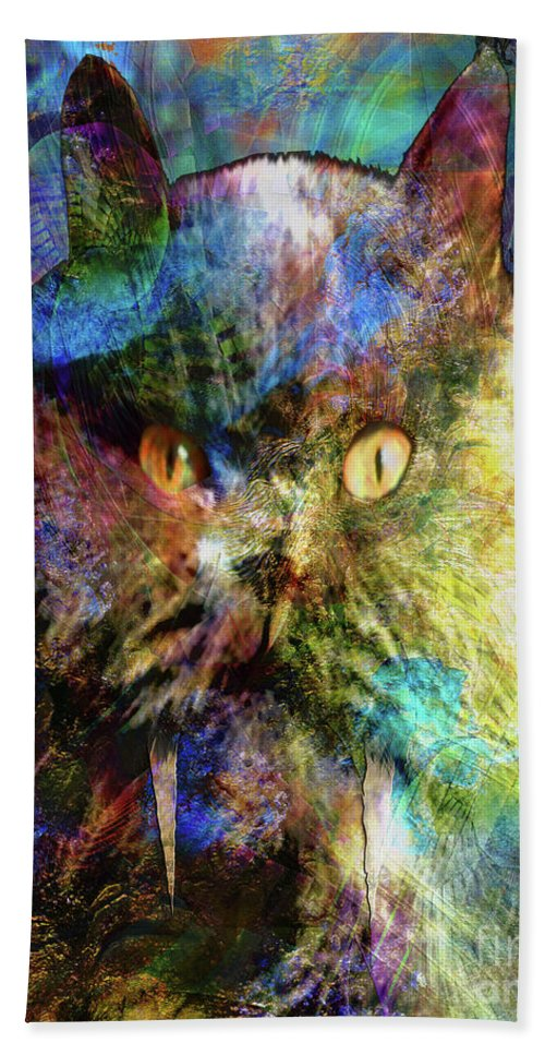 Cave Cat Bath Sheet featuring the digital art Cave Cat by John Beck