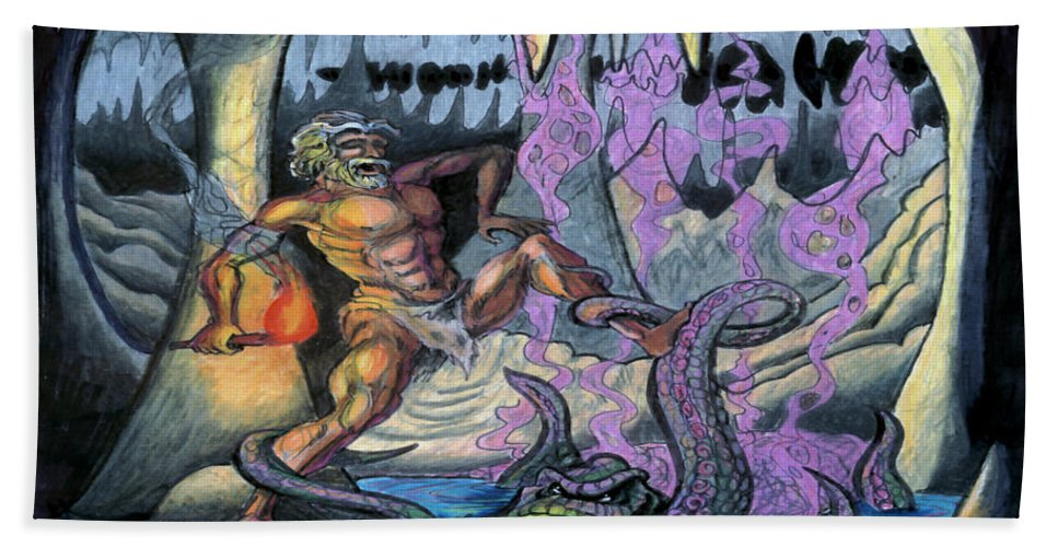 Cave Hand Towel featuring the painting Cave Creature by Kevin Middleton