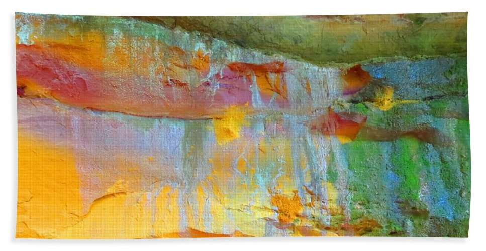 Wyalusing State Park Bath Sheet featuring the photograph Cave Rainbow by Connor Ehlers