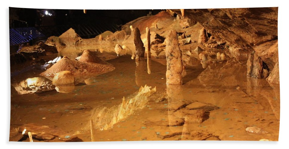 Cave Hand Towel featuring the photograph Cave Reflections by Lauri Novak