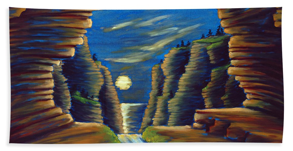 Cave Hand Towel featuring the painting Cave With Cliffs by Jennifer McDuffie