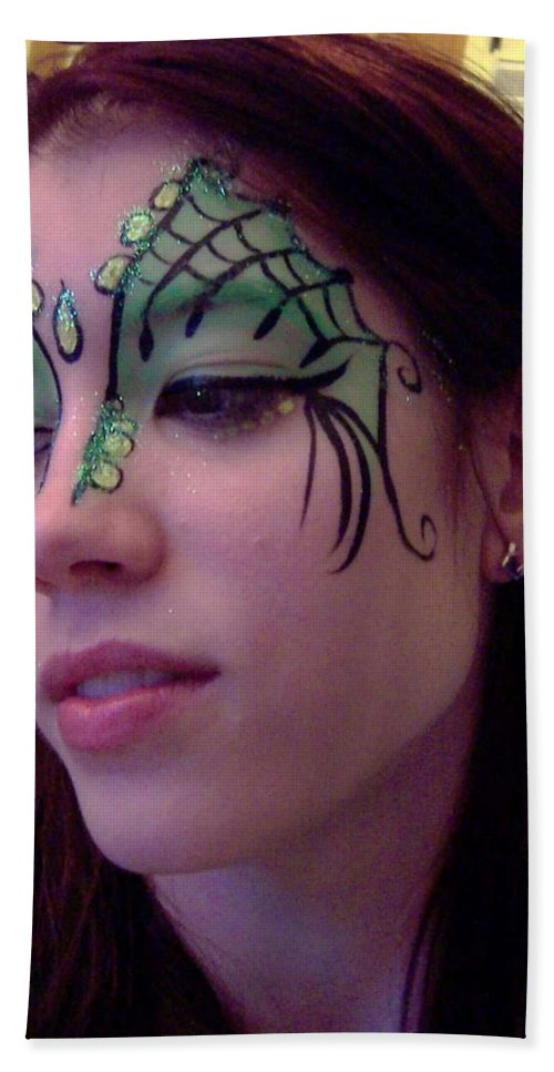 Face Paint Bath Sheet featuring the painting Cayce Dragon Princess by Deahn   Benware