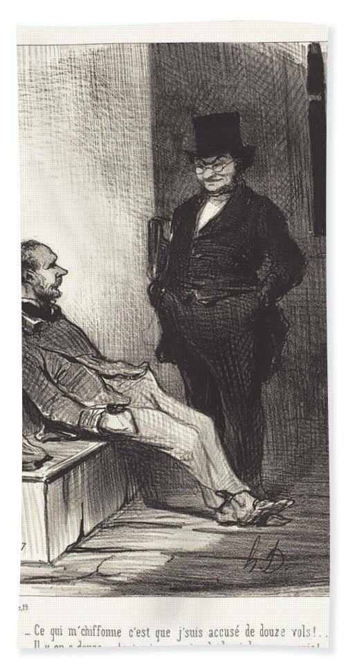 Hand Towel featuring the drawing Ce Qui M'chiffonne C'est... Douze Vols!... by Honor? Daumier