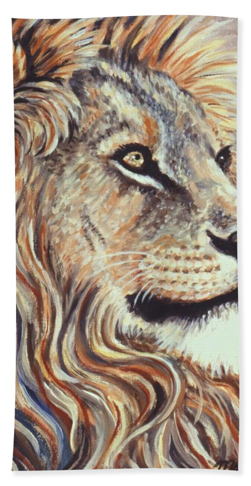 Cecil Hand Towel featuring the painting Cecil The Lion by Linda Mears