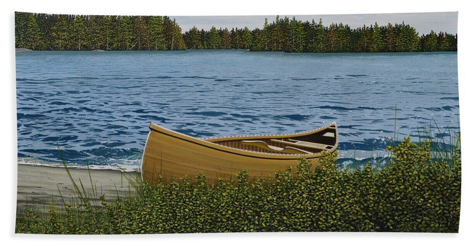Landscapes Hand Towel featuring the painting Cedar Canoe by Kenneth M Kirsch
