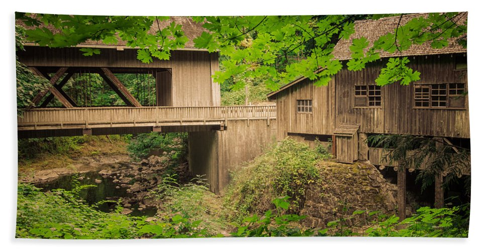 Mill Hand Towel featuring the photograph Cedar Creek Mill And Covered Bridge by Don Schwartz