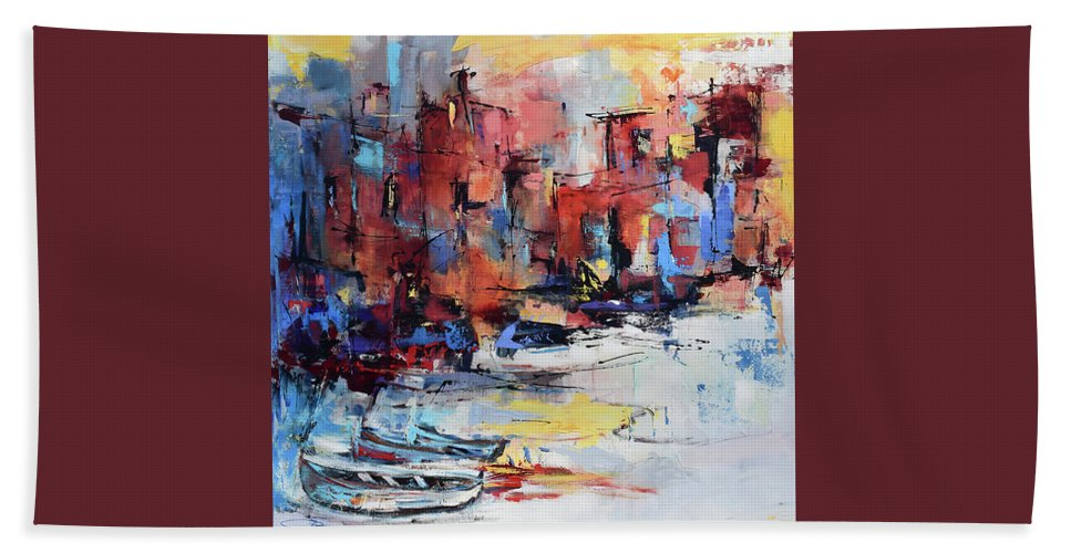 Cefalu Bath Sheet featuring the painting Cefalu Seaside by Elise Palmigiani