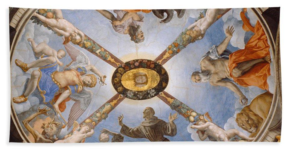 Bronzino Bath Sheet featuring the painting Ceiling Of The Chapel Of Eleonora Of Toledo by Bronzino