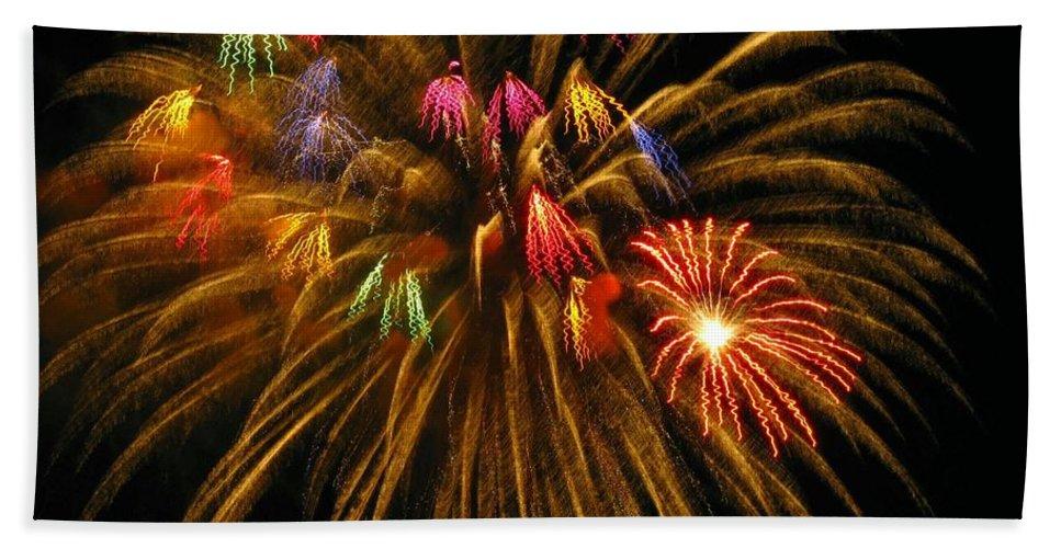 Fireworks Bath Sheet featuring the photograph Celebrate by Rhonda Barrett