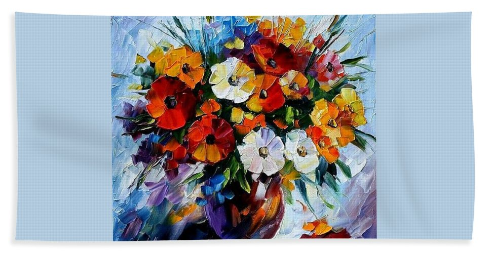Flowers Bath Sheet featuring the painting Celebration Bouquet by Leonid Afremov