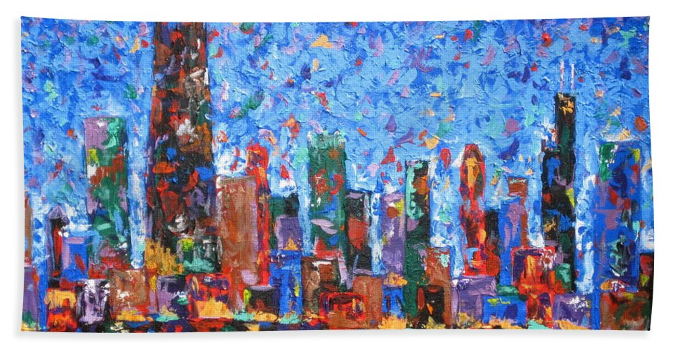 City Skyline Hand Towel featuring the painting Celebration City by J Loren Reedy