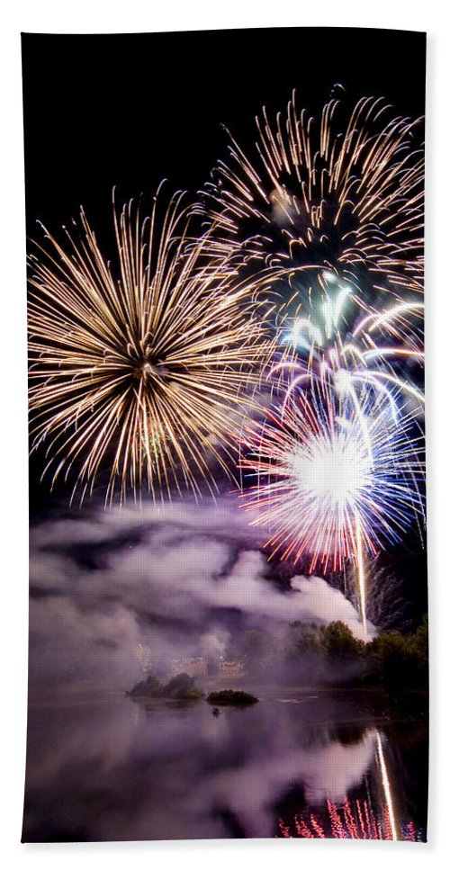 Fireworks Bath Sheet featuring the photograph Celebration by Greg Fortier