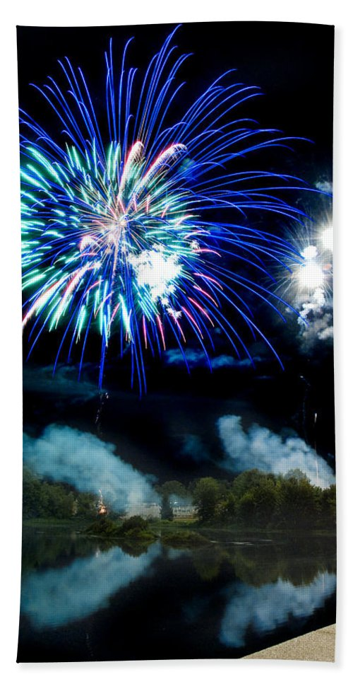 Fireworks Bath Sheet featuring the photograph Celebration II by Greg Fortier