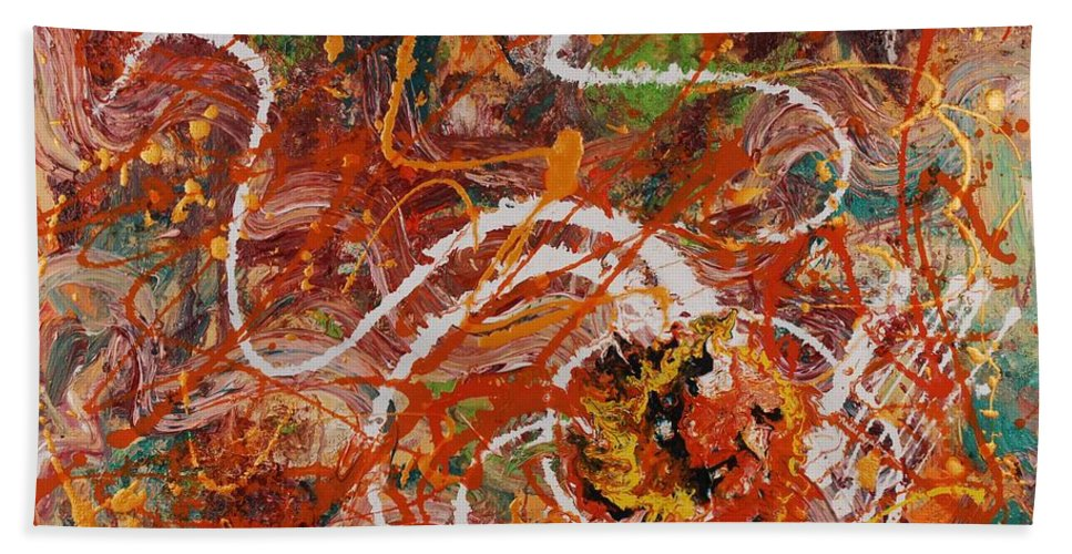 Orange Bath Towel featuring the painting Celebration II by Nadine Rippelmeyer