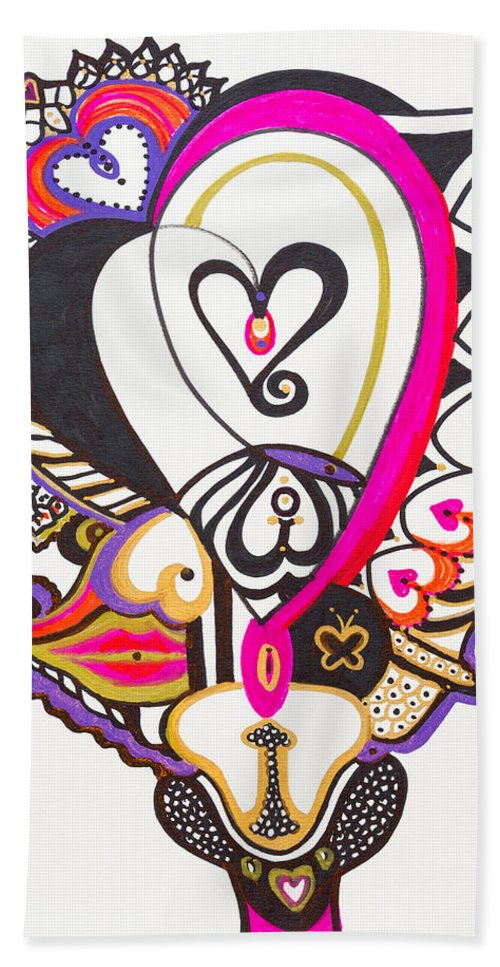 Heart Bath Towel featuring the painting Celebration - IIi by Laurel Rosenberg