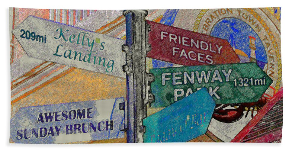 Celebration Town Center Bath Sheet featuring the painting Celebration Town Directional by David Lee Thompson