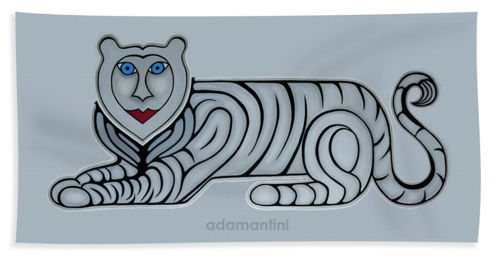 Celestial Bath Towel featuring the painting Celestial big white tiger woman by Adamantini Feng shui