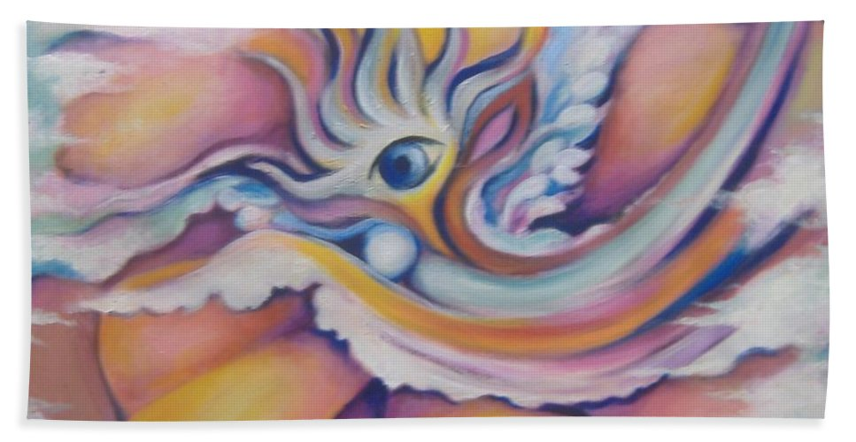 Surreal Artwork Bath Sheet featuring the painting Celestial Eye by Jordana Sands