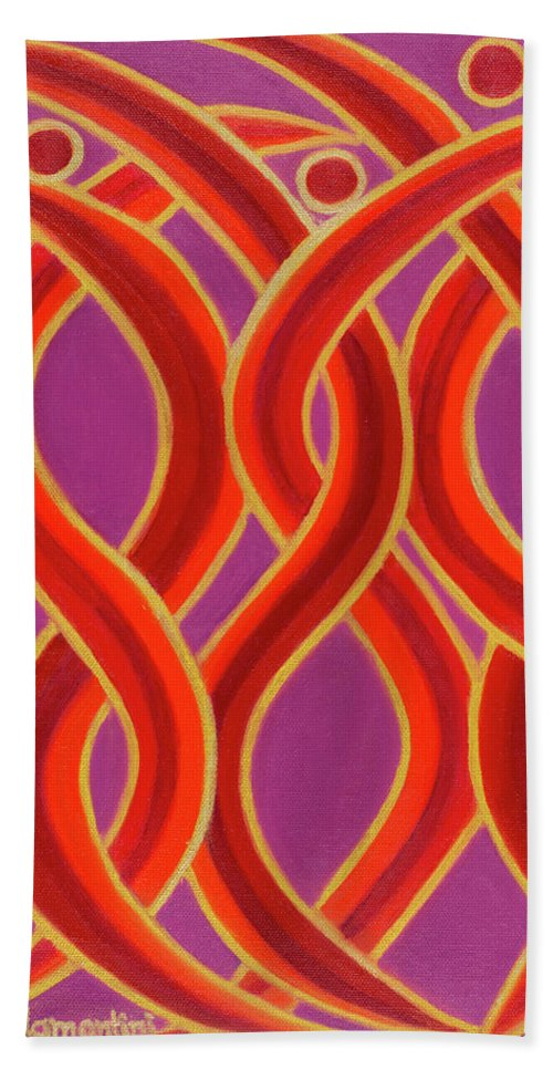 Celestial Fire Bath Towel featuring the painting Celestial Fire by Adamantini Feng shui