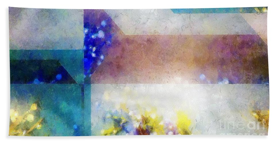 Abstract Hand Towel featuring the painting Celestial Navigation by RC DeWinter